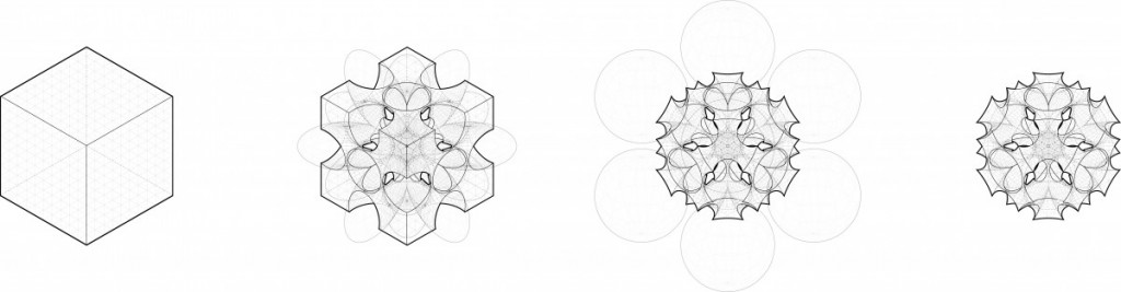 Cube study showing all steps in process with necessary lineweight to convey three dimensional depth.
