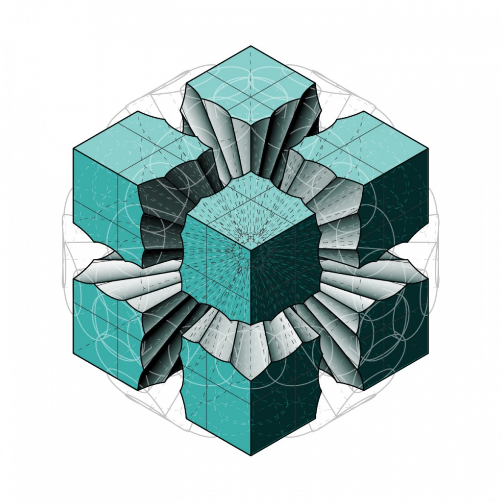 Layered cube drawing with rendering and color placed under linework.