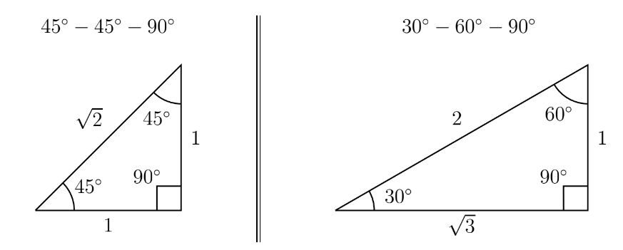 Special Triangles: These allow us to find the values of the trig functions at various common angles.