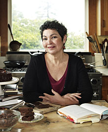 Alice Medrich in her kitchen in 2009