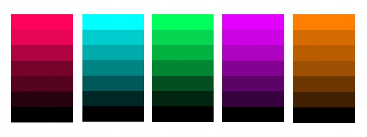 Digital Shade progression of a hue produced by the addition of black