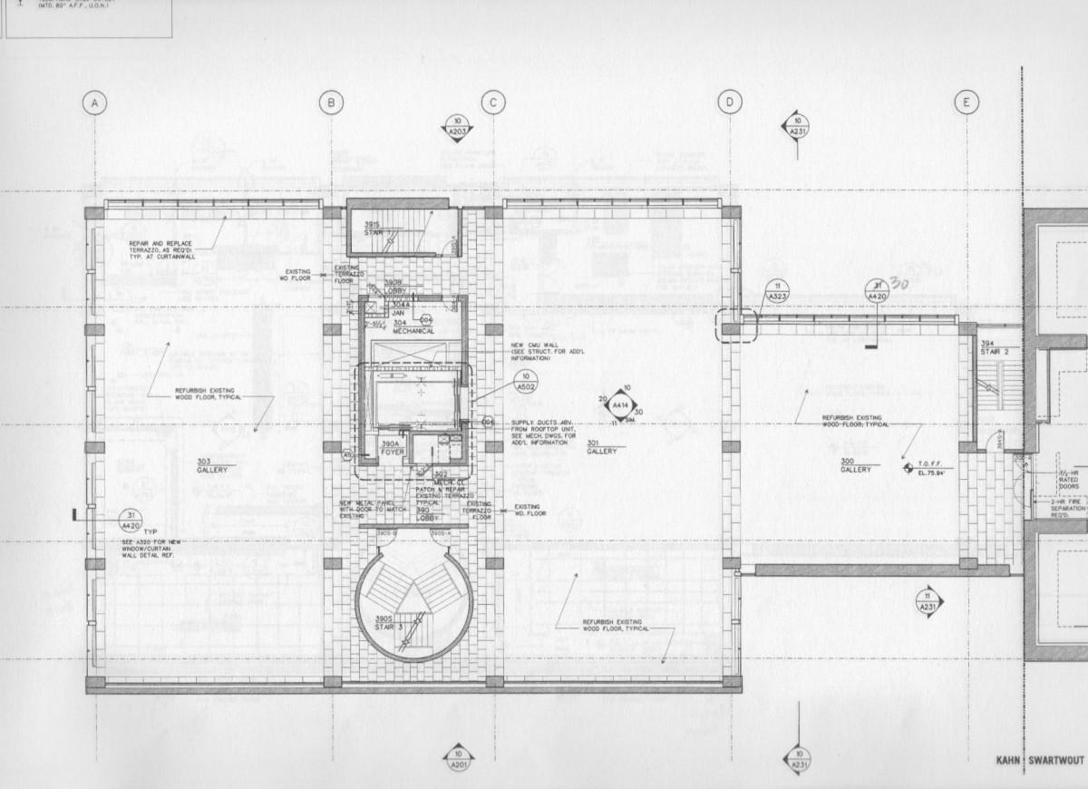Yale Art Gallery third floor plan