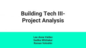 Building Tech - Project Analysis_Arkitektura