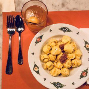 Pisco cocktail and Truffle Ravioli