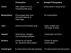 Table distinguishing characteristics between Pictorialism and Straight Photography movement
