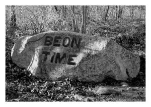 "Babson Rock with quote ""Be On Time"" chiseled on stone, Dogtown, Gloucester, MA"