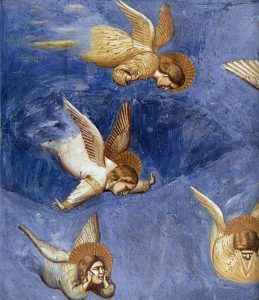Crying angels in Giotto's Lamentation scene, Arena Chapel, Padua