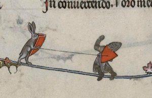 detail from illuminated manuscript of a rabbit knight