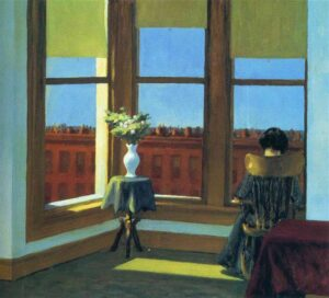 Painting of woman sitting in a room