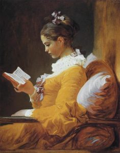 Fragonard's painting of a girl in a yellow dress seen reading a book. Used as an illustration for post that highlights the reading schedule