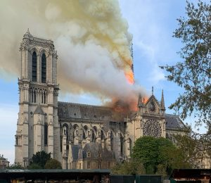 Photo of smoke and fire Cathedral of Notre Dame, Paris, April 15, 2019