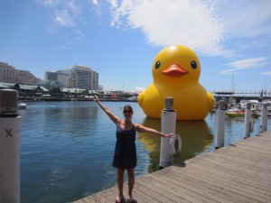 That's me, this past winter, in front of a big ol' rubber ducky (part of an art installation for a big festival) in Darling Harbour, Sydney, Australia!