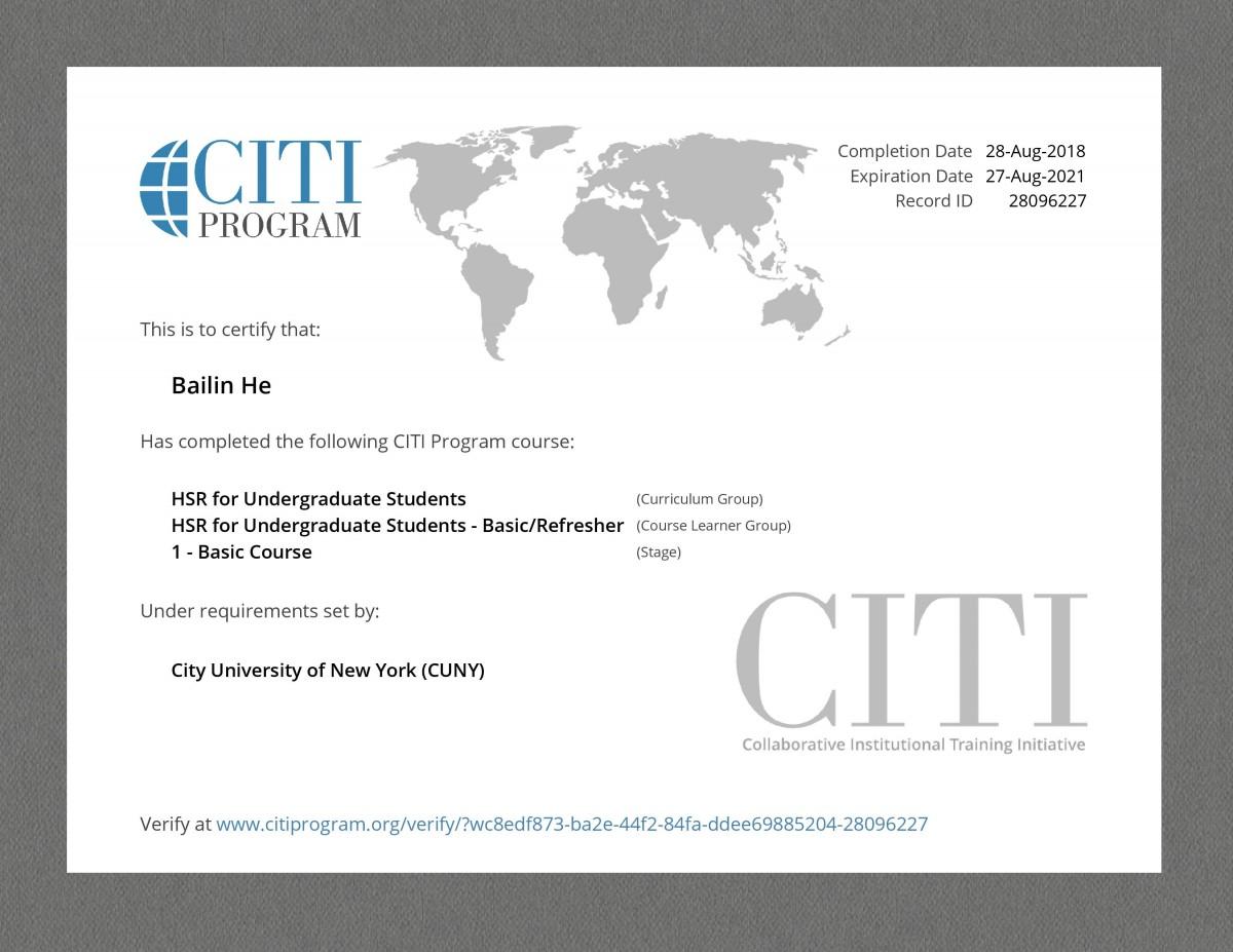 CITI Program Course HSR for Undergraduate Students Certificate
