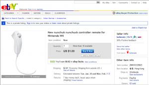 Nunchuck on eBay