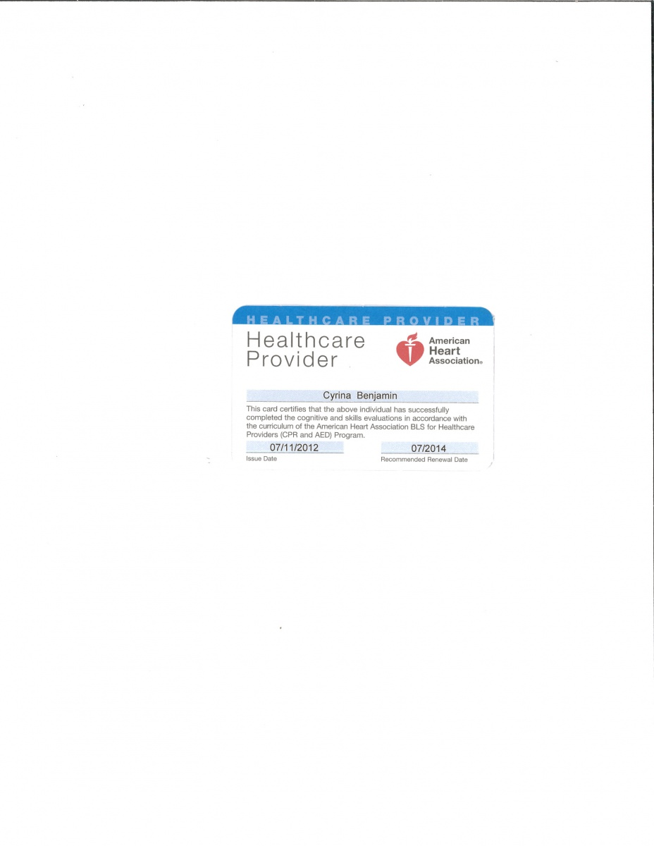 Certificate For Bcls Cyrina Gonzague Benjamins Eportfolio