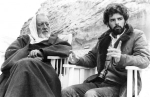 Alec Guinness and George Lucas on the of Star Wars (1977)