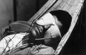 "Time traveler in Chris Marker's ""La Jetée"" 1962"