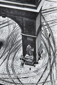 Photo of Washington Square park in snow from above