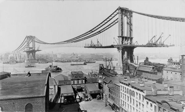 Manhattan Bridge Construction 1909, via Library of Congress