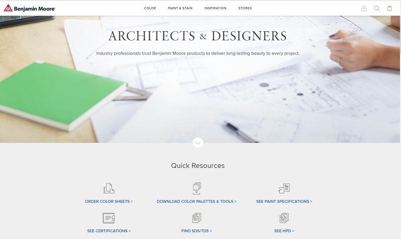 Screen shot from Benjamin Moore's ARCHITECTS & DESIGNERS page, https://www.benjaminmoore.com/en-us/architects-designers, accessed 2/13/18