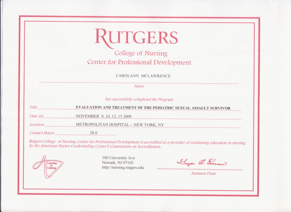 certificates of continuing education courses