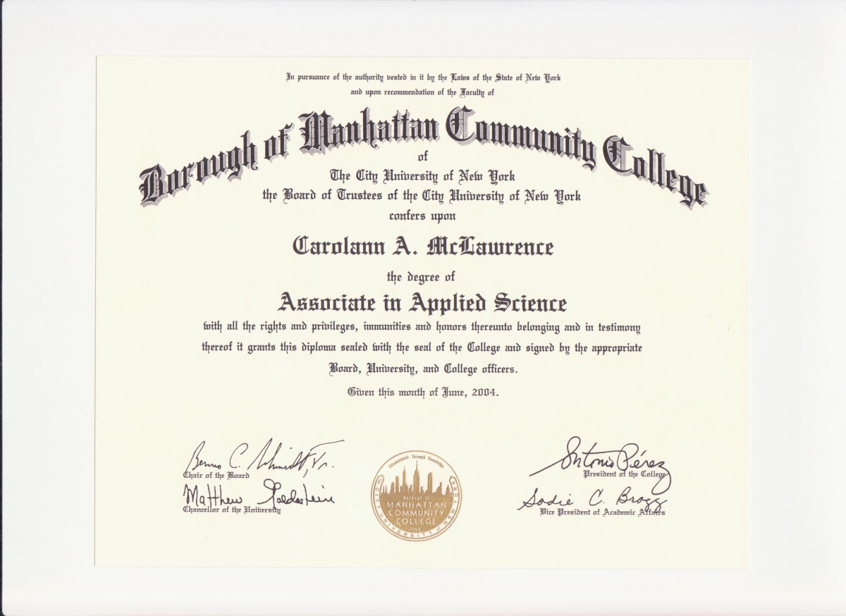 Education Degree Certification Carolann Mclawrence S