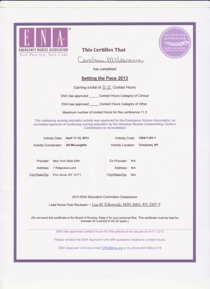 Certificates Of Continuing Education Courses Carolann Mclawrence S Eportfolio