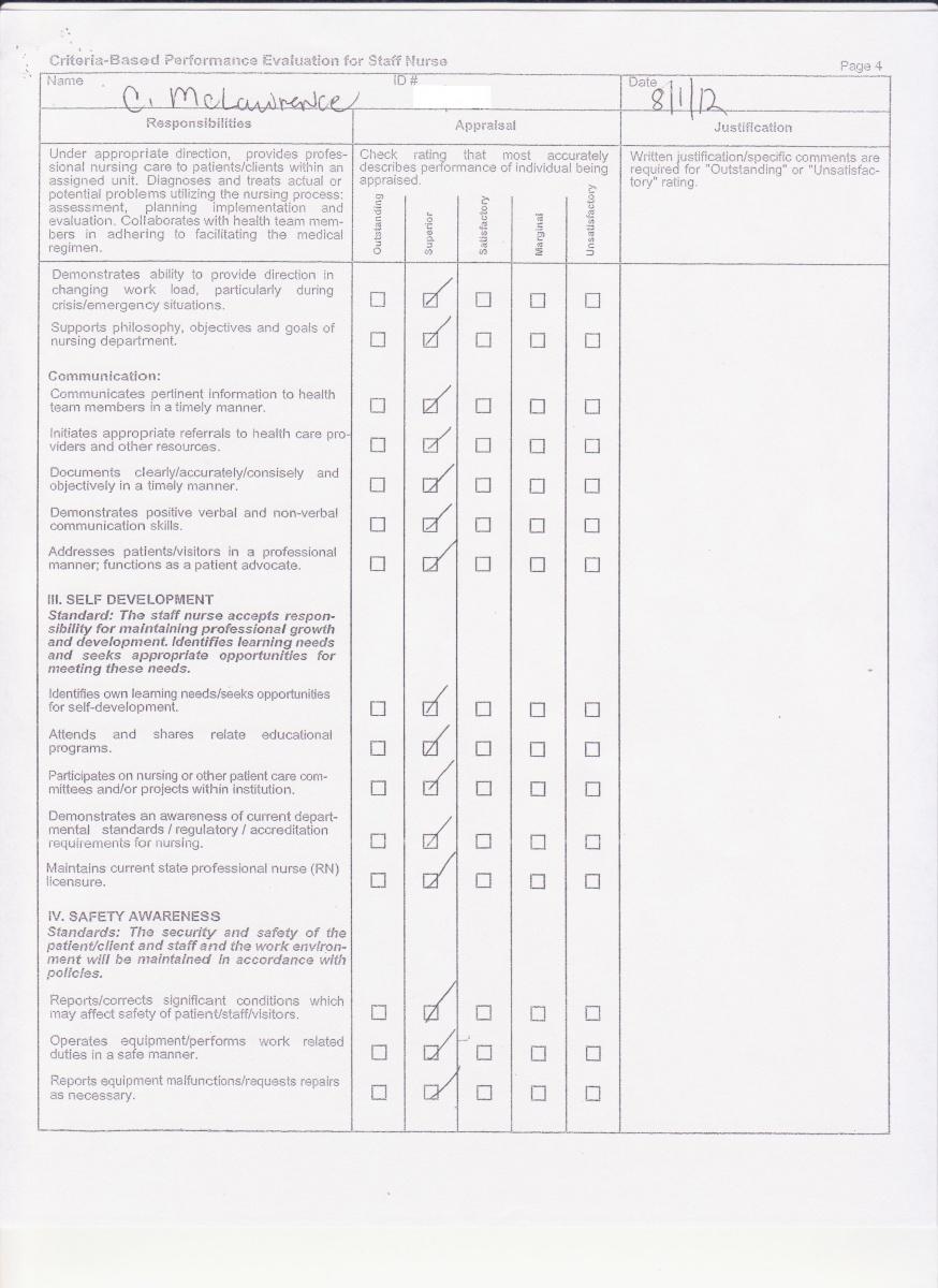 copies of work evaluation