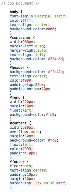 CSS for 2 column layout
