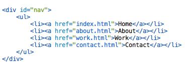 HTML for Navigation