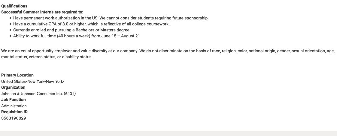 JJ internship qualifications