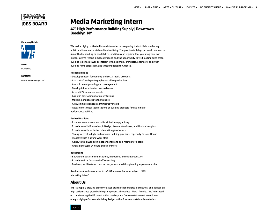 MEDIA MARKETING INTERN