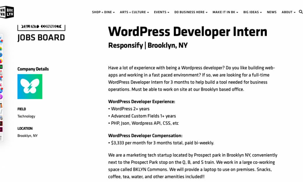 Wordpress Development Intern
