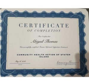 Certificate for Completion of Trauma Counseling Services