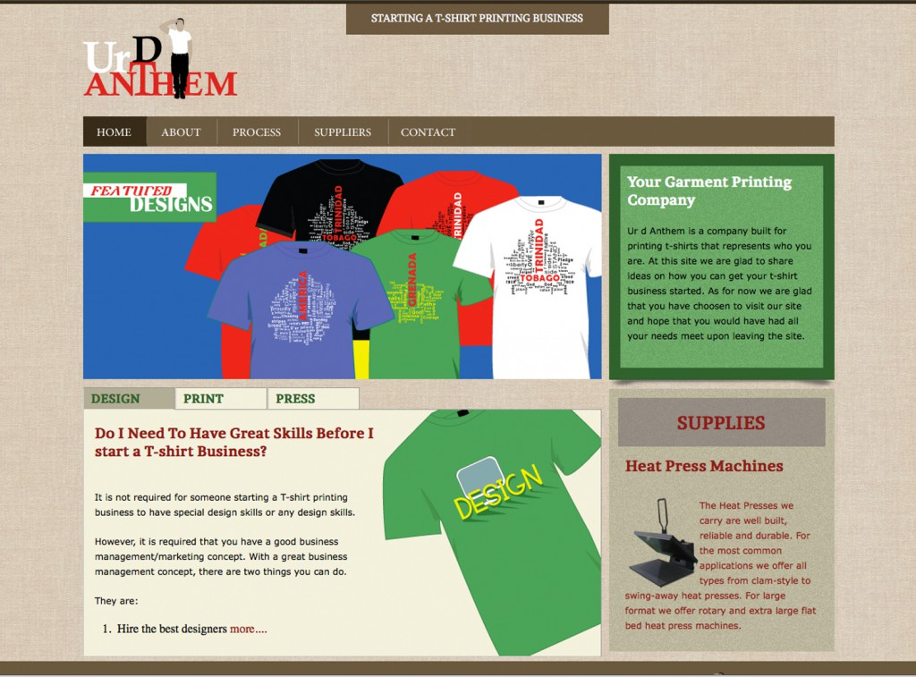 Ur D Anthem - T-shirt Printing business