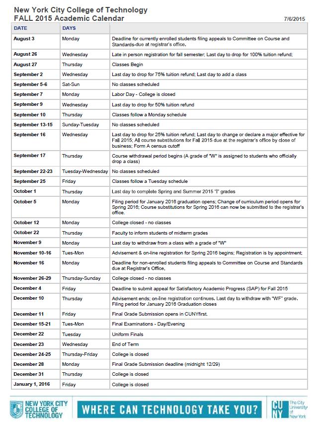 new york university academic calendar
