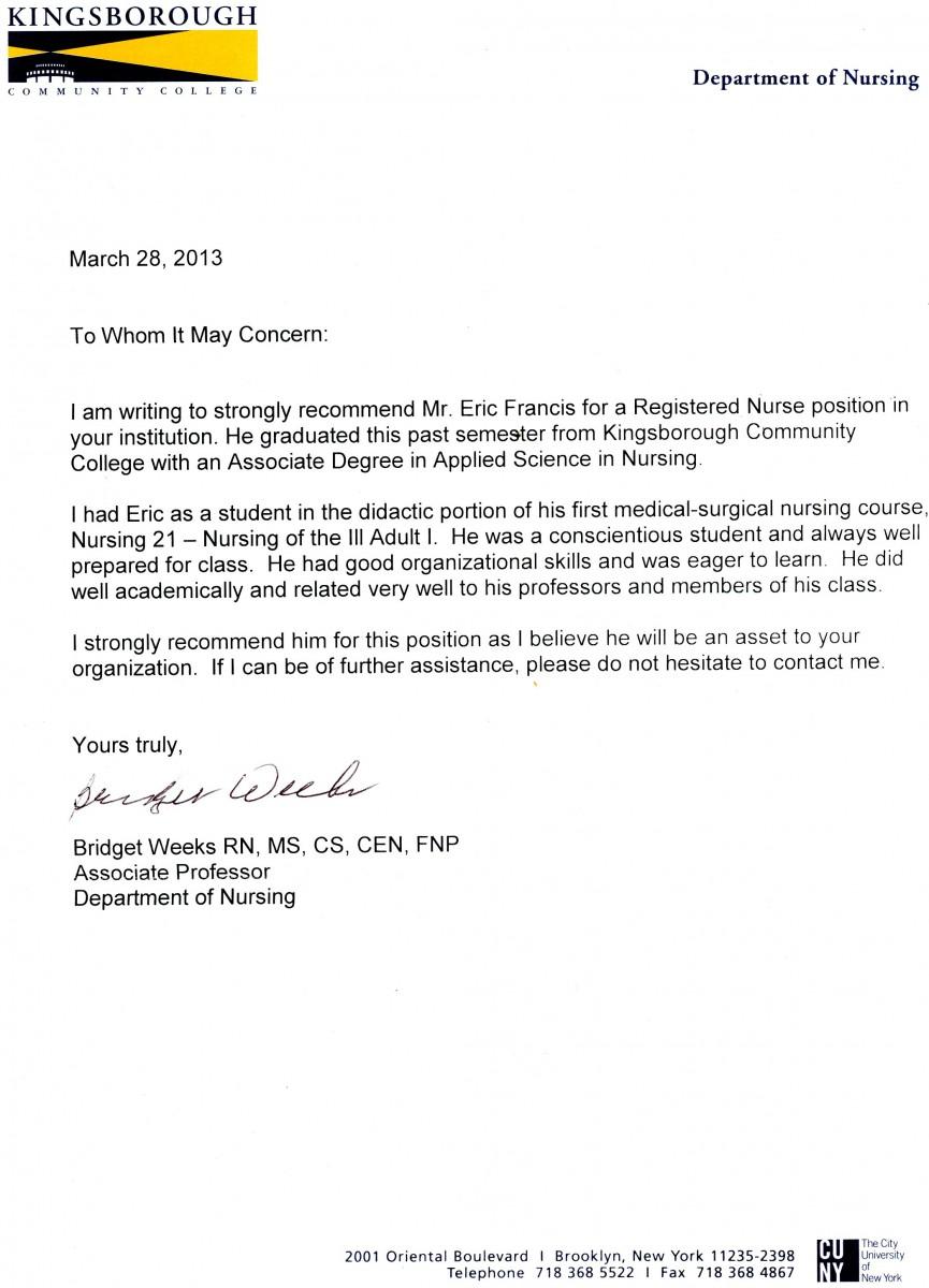Letters Of Recommendation Eric Franciss Eportfolio
