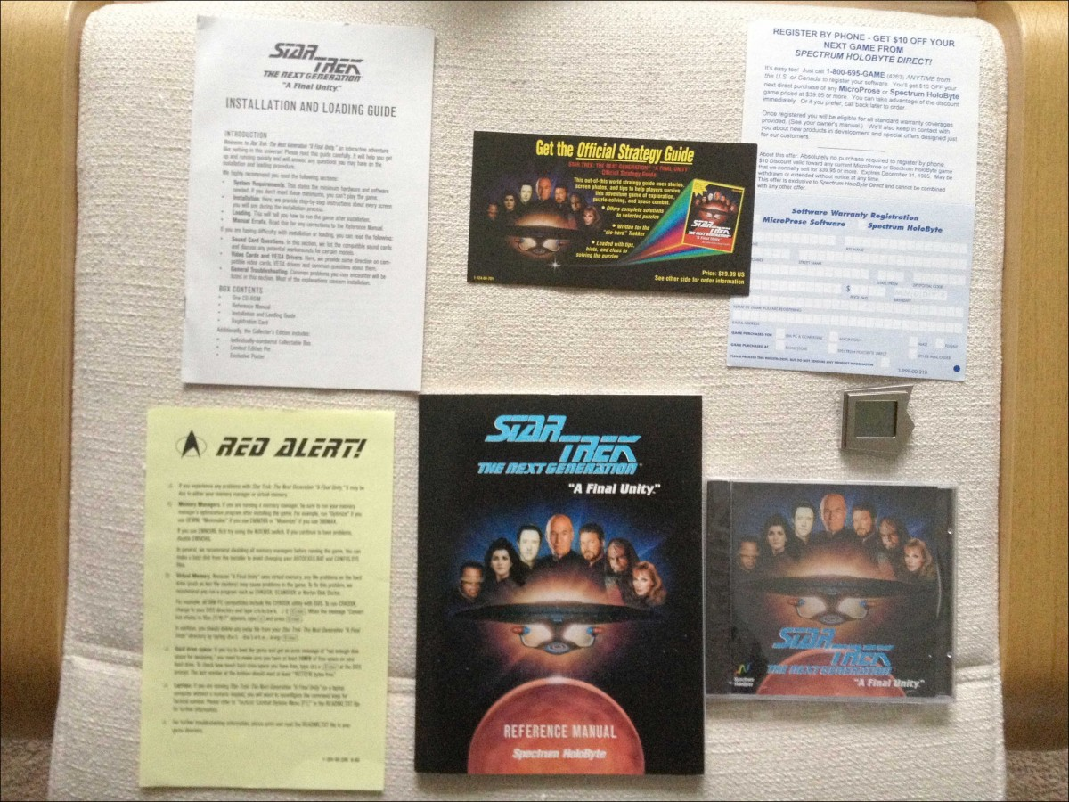 Star Trek TNG A Final Unity Video Game with installation, game manuals, and other package inserts.