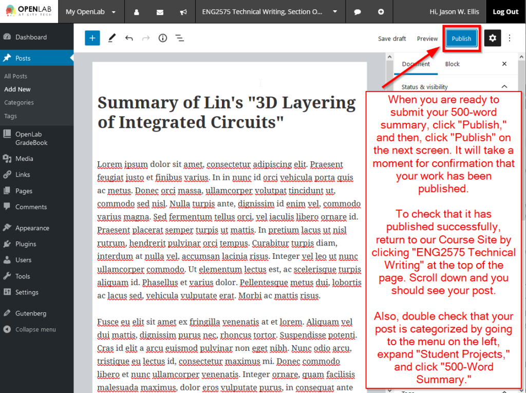"""After copyediting your work to ensure everything is as you want it to be, click on """"Publish"""" and then click """"Publish"""" on the next screen. Verify that your post is live on the site by clicking on """"ENG2575 Technical Writing"""" at the top center to return to our Course Site."""