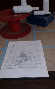 Observational 1 Point & 2 Point Perspective Final Drawing with Vanishing Lines