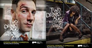 Two images of excessive drinking. Injured male on left; drunk women sitting on subway steps on right
