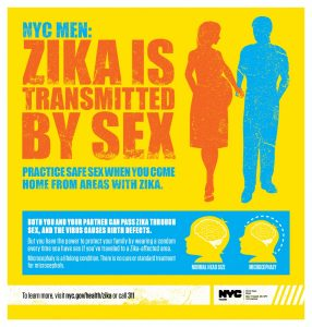 A New York City Deptartment of Health and Mental Hygeine message targeting men and women about contracting the Zika Virus from unprotected sexual contact