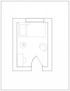 single bedroom plan view