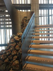 This is the stairs of the 1 hotel that looks exactly like the Brooklyn bridge. I thought it was cool for them to be able to do build this while they are next to the Brooklyn bridge.