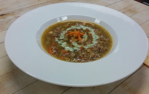 Spicy Chickpea and Bulgur Soup with Creamed Feta Paste and Tofu-Cilantro Sour Cream