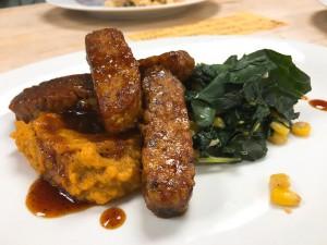 Glazed Maple-Mustard Tempeh Strips w/ Lacinato Kale & Sweet Potato Mash