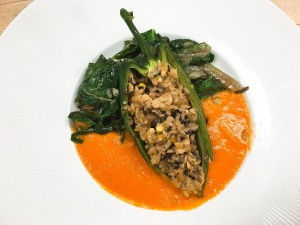 Stuffed Poblano Pepper w/ Roasted Red Bell Pepper & Tomato sauce & sautéed Swiss Chard