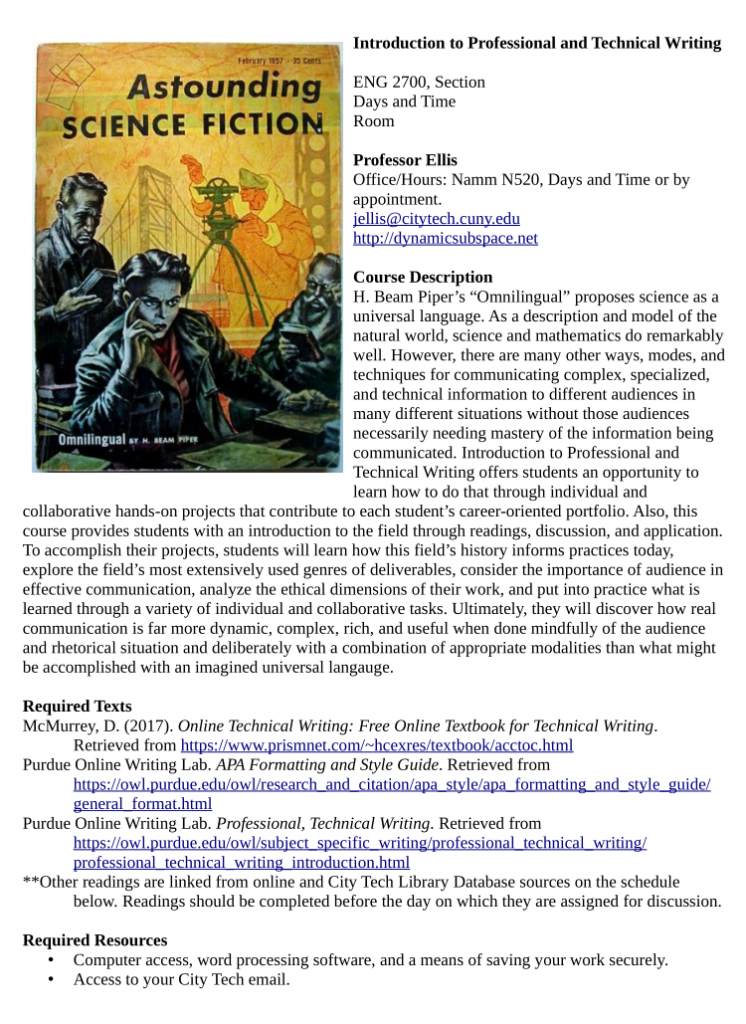 Cover image of ENG2700 syllabus.