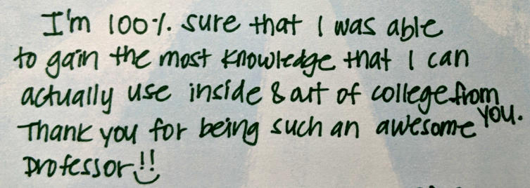 Thank you message from a former student.