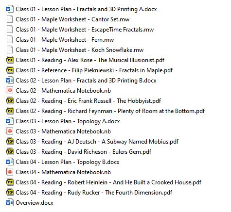 List of readings, lesson plans, and digital workbooks.